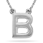 Fashion Block Initial B Pendant in Sterling Silver