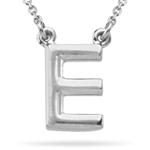 Fashion Block Initial E Pendant in Sterling Silver