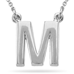 Fashion Block Initial M Pendant in Sterling Silver