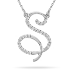 0.17 Cts Diamond Initial S Pendant in 14K White Gold
