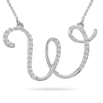 0.17 Cts Diamond Initial W Pendant in 14K White Gold