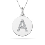 0.26 Cts Diamond Initial A Pendant in 14K White Gold