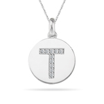 0.20 Cts Diamond Initial T Pendant