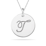 Initial T Pendant in 14K White Gold