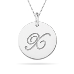 Initial X Pendant in 14K White Gold