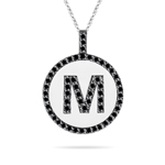 Black Diamond M Initial Pendant in 14K White Gold