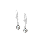 Gray Freshwater Cultured Pearl Earrings in 14K White Gold