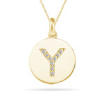 0.18 Cts Diamond Initial Y Pendant in 14K Yellow Gold