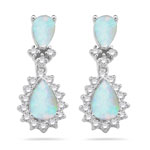 0.51 Cts Diamond & 0.72 Cts Opal Earrings in 14K Yellow Gold