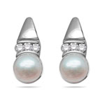 0.09 Cts Diamond & Pink Pearl Earrings in 14K White Gold