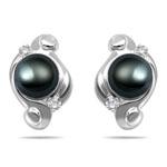 0.09 Cts Diamond & Pearl Swirl Earrings in 14K White Gold