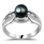 0.08 Cts Diamond & Pearl Womens Ring in 14K White Gold