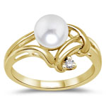 0.02 Cts Diamond & Pearl Womens Ring in 14K Yellow Gold