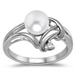 0.02 Cts Diamond & Pearl Womens Ring in 14K White Gold
