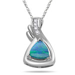 0.08 Cts Diamond & 0.97 Cts Boulder Opal Pendant in 14K White Gold