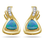 0.10 Cts Diamond & 1.60 Cts of 6x6 mm AA Trillion Cut Opal Earrings in 14K Yellow Gold