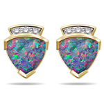 0.12 Cts Diamond & 1.94 Cts Boulder Opal Earrings in 14K Yellow Gold