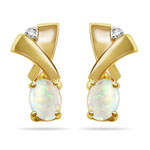0.12 Cts Diamond & 0.50 Cts Opal Earrings in 14K Yellow Gold