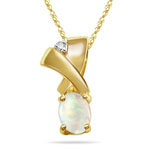 0.02 Cts Diamond & 0.45 Cts Opal Pendant in 14K Yellow Gold