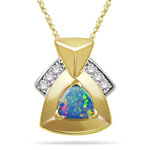 0.09 Cts Diamond & 0.80 Cts Opal Pendant in 14K Yellow Gold