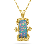 Breiton Created Opal Filigree Pendant in 14K Yellow Gold