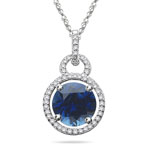 0.24 Cts Diamond & 3.62 Cts Blue Sapphire Pendant in 14K White Gold