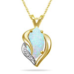 0.03 Cts Diamond & 0.97 Cts Opal Womens Pendant in 14K Two Tone Gold