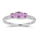 0.80 Cts Diamond & Pink Sapphire Three Stone Ring in 18K White Gold