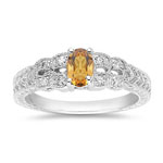 0.10 Cts Diamond & 0.33 Cts Citrine Ring in 14K White Gold