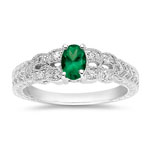 0.05-0.10 Cts Diamond & 0.30-0.40 Cts of 6x4 mm AA Oval Natural Emerald Ring in 14K White Gold