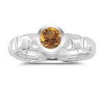 0.39 Cts Citrine Solitaire Ring in 14K White Gold