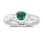 0.40 Cts Natural Emerald Solitaire Ring in 14K White Gold