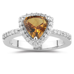 0.30 Cts Diamond & 1.31 Cts Citrine Ring in 14K White Gold