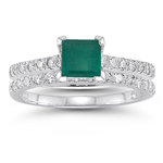 0.60 Cts Diamond & 0.71 Cts Natural Emerald Bridal Ring  in 14K White Gold