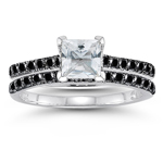 0.78 Cts Black Diamond & 0.78 Cts White Sapphire Bridal Ring Set in 14K White Gold - Christmas Sale