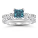 1.60 Cts White & Blue Diamond Bridal Ring Set in 14K White Gold