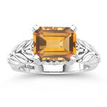 0.04 Cts Diamond & 2.43 Cts Citrine Ring in Silver