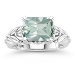 0.04 Cts Diamond & 2.42 Cts Green Amethyst Solitaire Ring in Silver