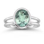 1.51 Cts Green Amethyst Solitaire Ring in 14K White Gold