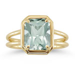 2.42 Cts Green Amethyst Solitaire Ring in 14K Yellow Gold