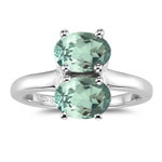 1.98 Cts Green Amethyst Ring in Silver