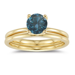 0.88 Cts Blue Diamond Engagement & Wedding Ring Set in 14K Yellow Gold