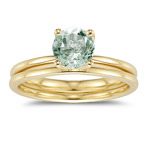 0.67 Ct Green Amethyst Engagement & Wedding Ring Set - 14K Yellow Gold