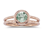 0.67 Cts Green Amethyst Solitaire Ring in 14K Pink Gold