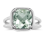 2.99 Cts Green Amethyst Solitaire Ring in 14K White Gold