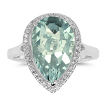 0.19 Cts Diamond & 3.39 Cts Green Amethyst Ring in Silver