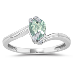 0.03 Cts Diamond & 0.54 Cts Green Amethyst Ring in 14K White Gold