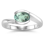 0.99 Cts Green Amethyst Solitaire Ring in 14K White Gold