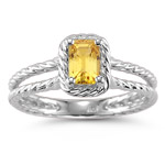 0.55 Ct 6x4 mm AA Emerald Yellow Sapphire Solitaire Ring in 14KW Gold