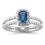 0.49 Cts of 6x4 mm AA Emerald London Blue Topaz Solitaire Ring in 14K White Gold